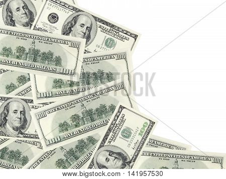 The dollar banknotes on a white background