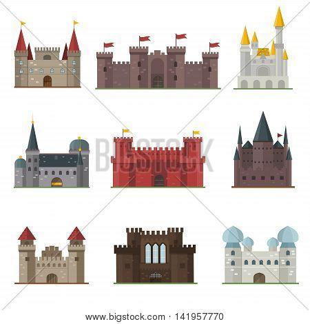 Cartoon fairy tale castle tower icon. Cute cartoon castle architecture. Vector illustration fantasy house fairytale medieval castle. Kingstone cartoon castle cartoon stronghold design fable isolated. poster