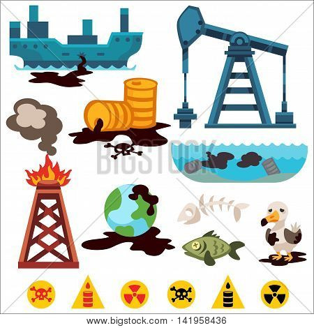 Ecological problems environmental pollution of water, earth, air, deforestation, destruction of animals vector. Mills factories forest environmental pollution. Environmental protection. Oil pollution