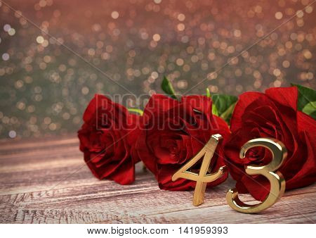 birthday concept with red roses on wooden desk. 3D render - forty-third birthday. 43rd