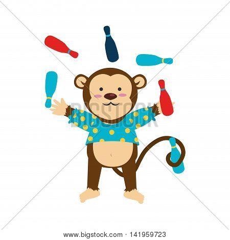 circus monkey cartoon, isolated flat icon design