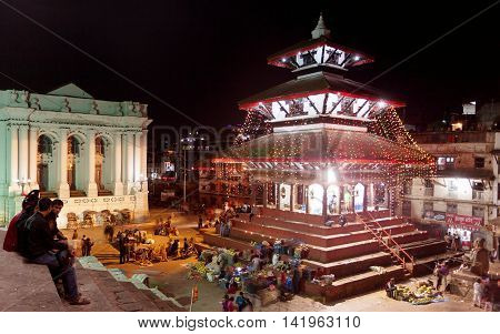 KATHMANDU NEPAL 23RD OCTOBER 2014 - Night view of Kathmandu Durbar square during festival