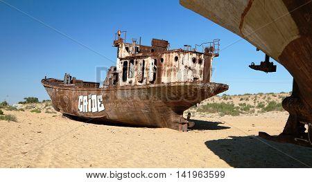 MUYNAK UZBEKISTAN 13th JUNE 2013 - Boats in desert around Moynaq Muynak or Moynoq - Aral sea or Aral lake - Uzbekistan - asia