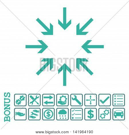 Pressure Arrows icon with bonus pictograms. Vector style is flat iconic symbol, cobalt and cyan colors, white background. Bonus style is bicolor square rounded frames with symbols inside.