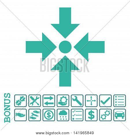 Shrink Arrows icon with bonus pictograms. Vector style is flat iconic symbol, cobalt and cyan colors, white background. Bonus style is bicolor square rounded frames with symbols inside.