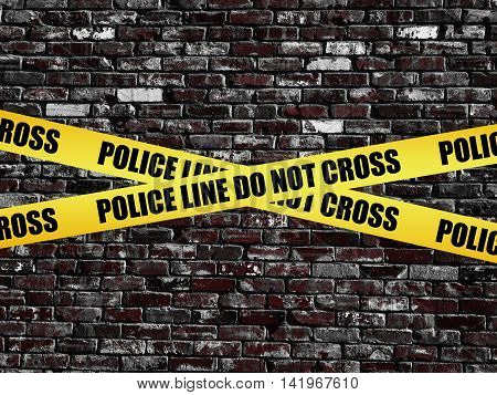 Police Line Do Not Cross on old vintage brick wall texture background