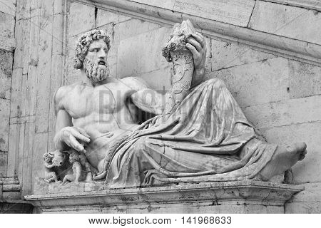 River Tiber God monumental statue with Romulus and Remus in Capitoline Hill Square Rome (B/W)
