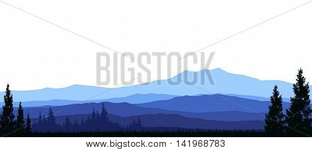 pine forest silhouette with beauty mountain on white background