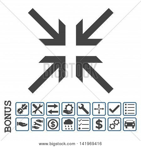 Collide Arrows icon with bonus pictograms. Vector style is flat iconic symbol, cobalt and gray colors, white background. Bonus style is bicolor square rounded frames with symbols inside.