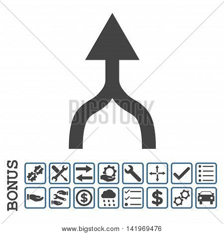 Combine Arrow Up icon with bonus pictograms. Vector style is flat iconic symbol, cobalt and gray colors, white background. Bonus style is bicolor square rounded frames with symbols inside.