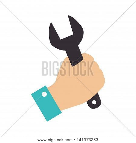 wrench hand construction builder tool mechanical grab vector graphic isolated and flat illustration