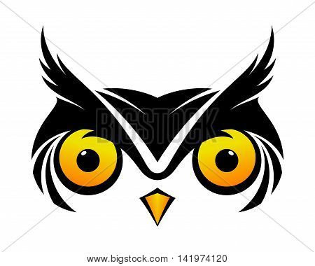 Hawk eyed black owl symbol cool vector logo