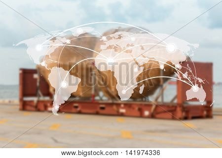 Map global connection conceptIndustrial Container Cargo for Logistic Import Export background background (Elements of this image furnished by NASA)