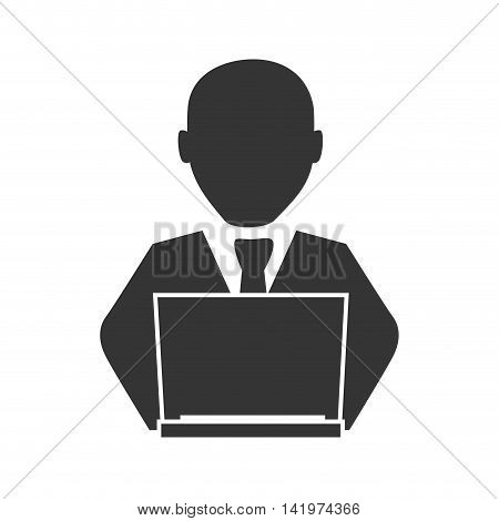 man laptop computer studying education technology bussines suit vector graphic isolated and flat illustration