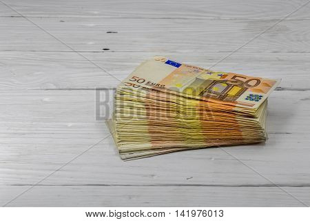 Monetary Currency On Wooden Background, Euro Banknotes