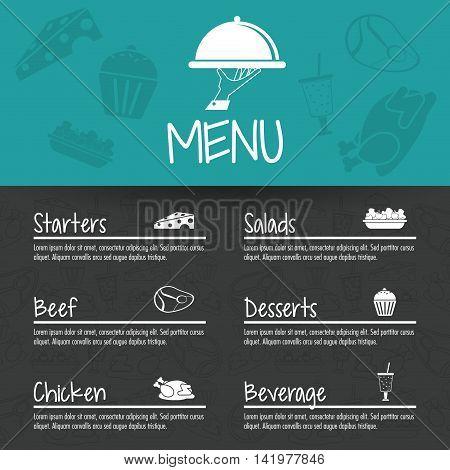 plate starters salads beef chicken dessert beverage menu restaurant kitchen icon. Colorfull illustration. Vector graphic