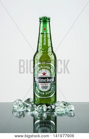Seoul South Korea - September 12 2014: Heineken Lager Beer is the flagship product of Heineken International which owns over 125 breweries in more than 70 countries