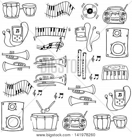 Doodle of hand draw music tools stock collection