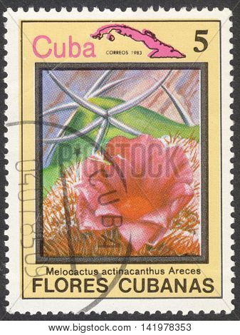 MOSCOW RUSSIA - CIRCA MAY 2016: a post stamp printed in CUBA shows Melocactus actinacanthus flower the series