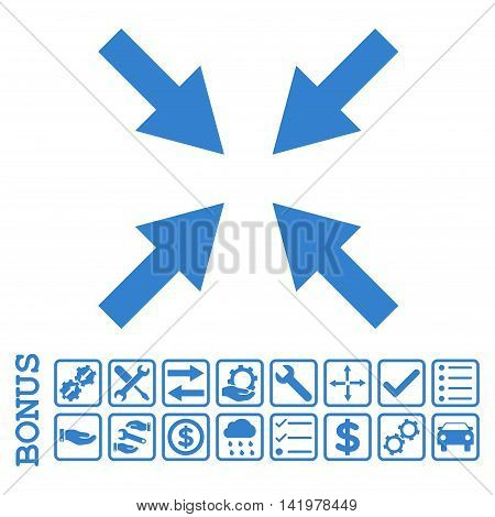Compress Arrows icon with bonus pictograms. Vector style is flat iconic symbol, cobalt color, white background. Bonus style is square rounded frames with symbols inside.