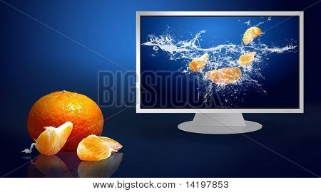 Fresh fruits in water on lcd monitor