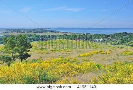View from Dornbusch Hill to Village of Kloster on Hiddensee Island,baltic Sea,Mecklenburg western Pomerania,Germany