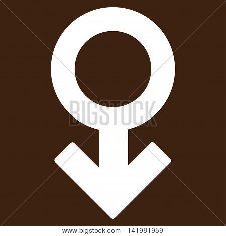 Impotence Symbol vector icon. Style is flat symbol, white color, rounded angles, brown background.