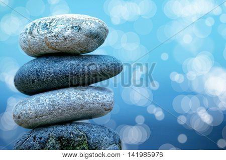 close up shot of stone pile on seaside.