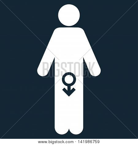 Male Impotence vector icon. Style is flat symbol, white color, rounded angles, dark blue background.