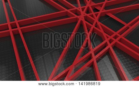 3D Render Of Red Chaos Mesh Isolated On Black  Background