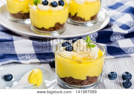 fresh-tasting summer dessert - Lemon Cheesecake Mousse in cups decorated with whipped cream mint and blueberry selective focus