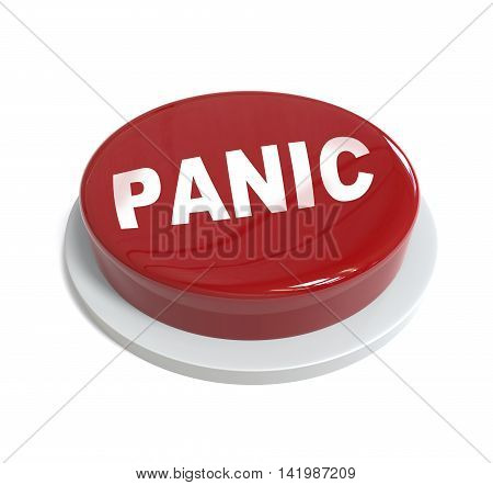 3D Rendering Of A Red Button With Pamic Word  Written On It