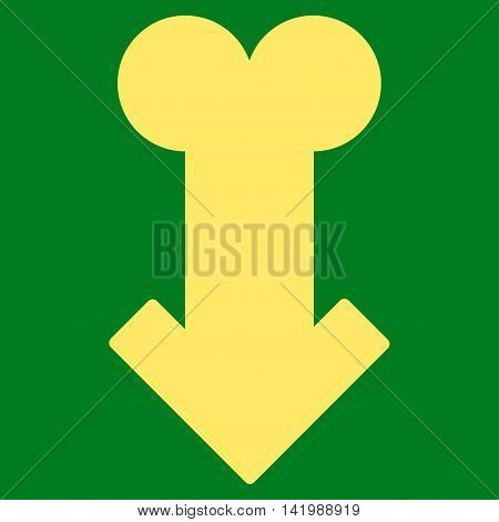 Male Sexual Disfunction vector icon. Style is flat symbol, yellow color, rounded angles, green background.
