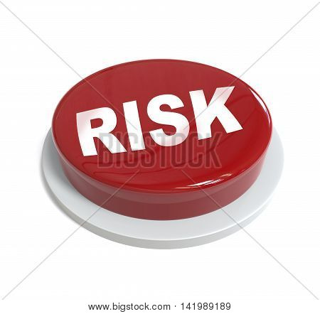3D Rendering Of A Red Button With Risk Word  Written On It