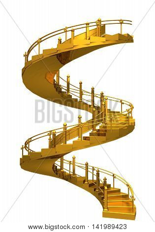 Spiral Gold Stair Casel - 3D Rendering Composition