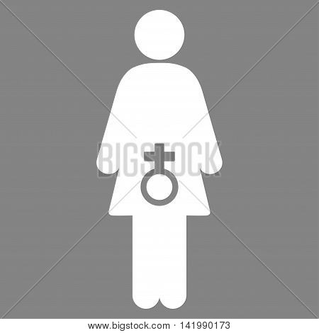Female Sexual Disfunction vector icon. Style is flat symbol, white color, rounded angles, gray background.