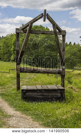 handly wooden oil pump of 19th century at Schidnica L'viv region Ukraine
