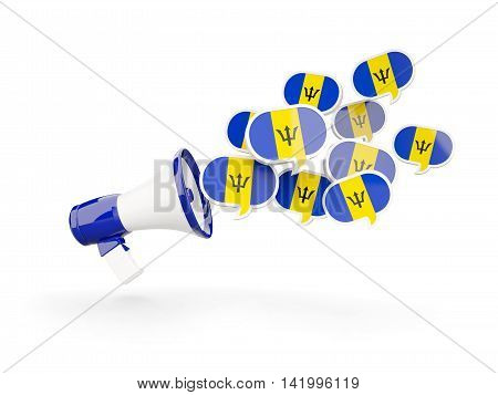 Megaphone With Flag Of Barbados