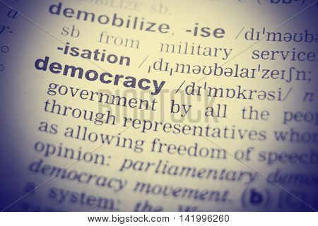 Democracy Word Definition In English Dictionary. Close-up shot