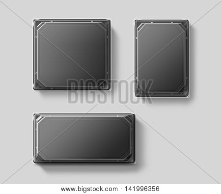 Blank plastic disposable food container mockup set transparent lid isolated clipping path 3d illustration. Sushi empty to go  delivery box mock up. Meal lunch take away clear tray template.