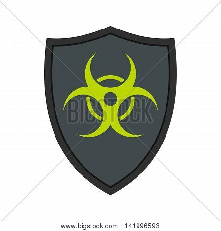 Gray shield with a biohazard sign icon in flat style on a white background