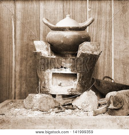 Traditional stove and pottery in Thai kitchen; Vintage Style