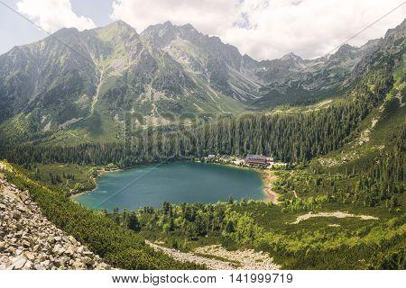 Glacial Lake Popradske Pleso in High Tatras National Park Slovakia