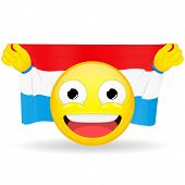 Emoji fan holds in hands flag behind his head. Luxembourg flag. Fan cares for his country. Glory spectator bawl emotion. Exult emoticon. Buff of sports games smile vector illustration. poster