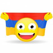 Emoji fan holds in hands flag behind his head. Armenian flag. Fan cares for his country. Glory spectator bawl emotion. Exult emoticon. Buff of sports games smile vector illustration. poster