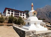 Tengboche Monastery with stupa the best monastery in Khumbu valley trek to Everest base camp Sagarmatha national park Nepal poster