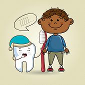 smiling cartoon child wearing coloured clothes holding a toothbrush next to a cartoon sleepy tooth with a hat and a text cloud above it over a colored background vector illustration poster