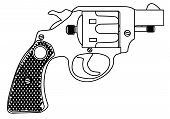 A snub nose handgun as used by police forces isolated over a white bavkground. poster