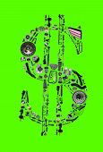 Dollar money with auto parts for car. Auto parts for car. Auto parts for shop, aftermarket OEM. Dollar with auto parts. Many auto spare parts isolated on green screen, chroma key poster