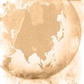 aged asia map-vintage artwork poster